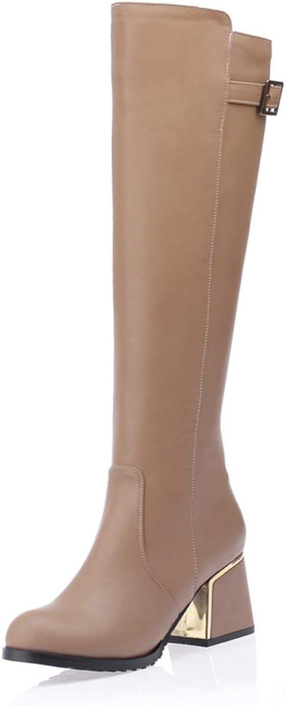 Hoxekle Knee High Boots High Heel Plush Fur Women Casual Winter Black Buckle Outdoor Sneakers