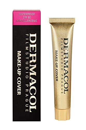 Dermacol DC Base Makeup Cover Total | Maquillaje Corrector Waterproof SPF 30 | Cubre Tatuajes, Cicatrices, Acné, Imperfecciones, Manchas en la Piel de la Cara y Cuerpo | Liquido - Mate Natural - 30g