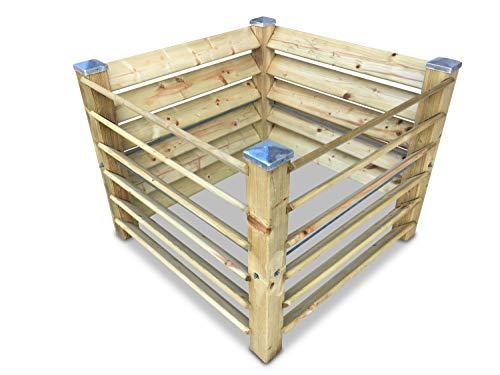 GartenDepot24 Compostador de madera con 4 tapas galvanizadas, 100 x 100 x 80 cm, aprox. 650 L