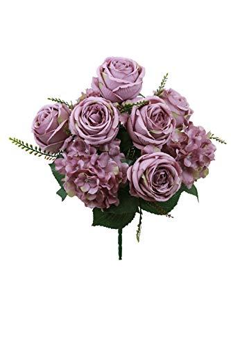 SN Decor Fake Flowers Vintage Artificial Peony Hydrangea Silk Flowers Wedding Home Decoration, Pack of 1 (Mauve)