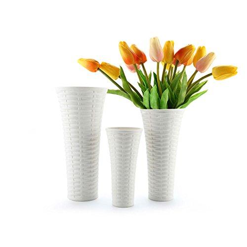 ComSaf 20cm Porzellan Blumenvasen Hoch, Tischvasen mit Ratten-Muster, Weiß 3er-Set