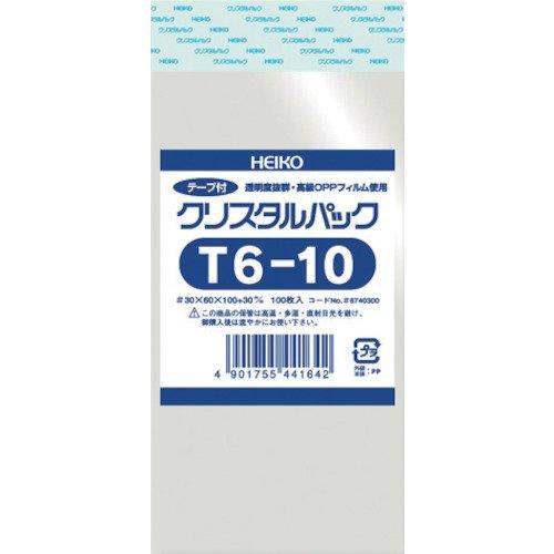 透明袋 OPPクリスタルパック T6-10 100枚入 <サイズ:厚み0.03mm 幅6×高10+3cm>