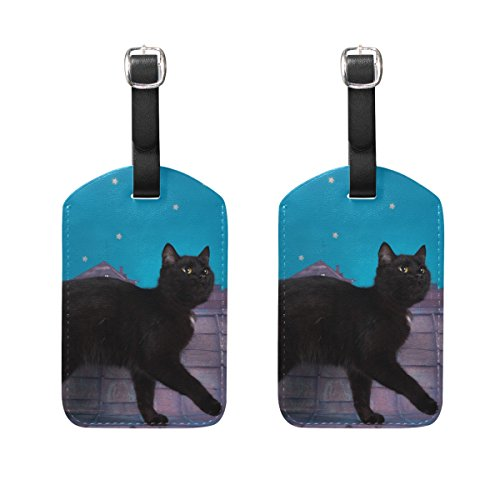 COOSUN Black Cat Walking On The Roof Night Luggage Tags Travel Labels Tag Name Card Holder for Baggage Suitcase Bag Backpacks, 2 PCS
