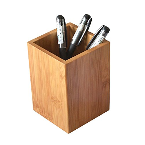 YOSCO Bamboo Wood Desk Pen Pencil Holder Stand Multi Purpose Use Pencil Cup Pot Desk Organizer