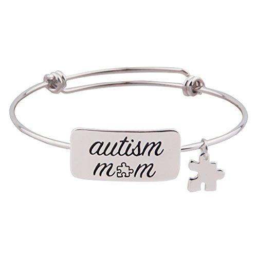 KUIYAI Autism Awareness Bangle Bracelet Hand Stamped Message Love Inspirational Puzzle Piece Charm Bangle (Autism mom)