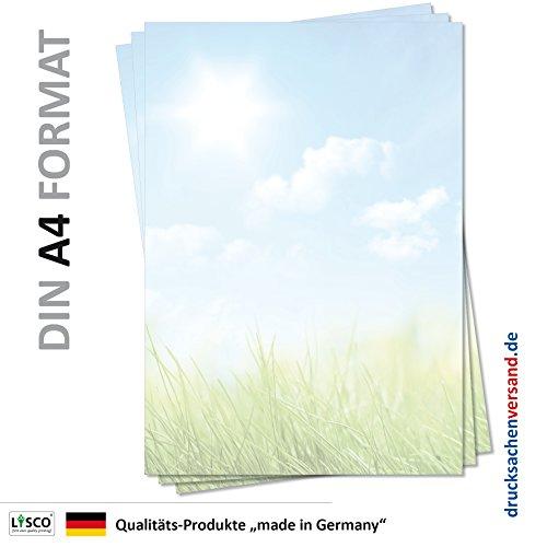Motiv Briefpapier (Natur-5126, DIN A4, 100 Blatt) grüne Wiese Gras blauer sonniger Himmel mit Weißen Wolken Motivpapier