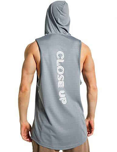 LBL - Camiseta sin mangas para hombre con capucha, chalecos de gimnasio, sin mangas, para entrenamiento muscular, sin mangas