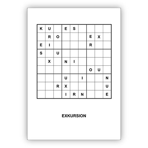 Wenskaarten - Sudoku letters Rätsel wenskaart om te knopen in chique design voor literatuur en reizen vrienden: Excursion - ook mooi als cadeaubon • mooie groet vouwkaart met envelop binnen blanco voor lieve woorden 4 Grußkarten