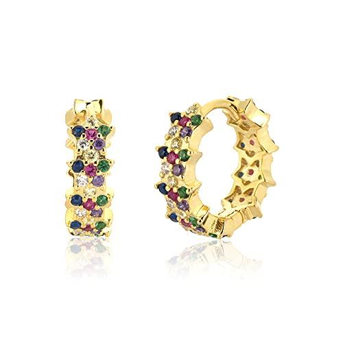 Pendientes Mujer Plata De Ley 925 Aros De Circonita Arcoíris Oro Circonita Negra Cristal Huggies Círculo Bucles De Flores Piercing Jewelry Gold Rainbow