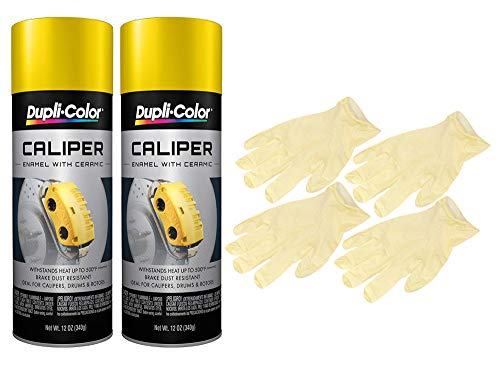 Dupli-Color Yellow Caliper Paint (12 oz.) Bundled with 2 Pairs of Latex Gloves (4 Items)