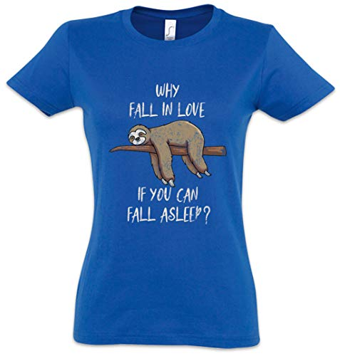 Urban Backwoods Sloth Fall In Love Asleep Camiseta de Mujer Women T-Shirt Azul Talla S