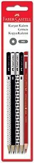 Faber-Castell 5504119231 Kurşun Kalem + Kırmızı Kopya Kalemi, Geometrik