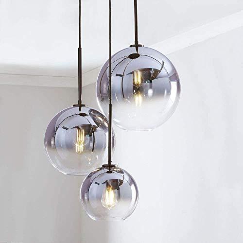 Lampada a sospensione da tavolo moderna da pranzo, 3 luci lampada a sospensione a sfera in vetro, regolabile in altezza E27 lampadario a soffitto lampadario per sala da pranzo soggiorno camera da lett