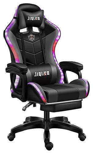 Spielstuhl Spielstuhl, Pro-Gaming-Stuhl mit Bluetooth-Lautsprechern mit LED-Licht Ergonomischer Büro-Liegestuhl 150kg, Gaming Chair (Color : Black, Size : Tolerate: 150kg)