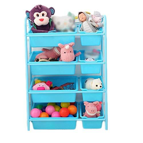 ZGQA-GQA Barnleksak Storage Rack Blå Toy Storage Organizer vagn med hjul och avtagbar plastbackar stora förvarings Hyllor (Färg: Blå, storlek: 64 * 28,5 * 90cm)