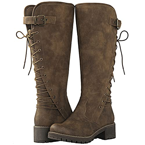 GLOBALWIN Women's Chunky Heel Camel Lace Up Back Knee High Fashion Boots 9M