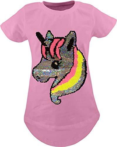 Alpaka Einhorn Kinder Mädchen Wende Pailletten Lang T-Shirt Bluse Kurzarm Tunika (128-134, Einhorn Rosa)