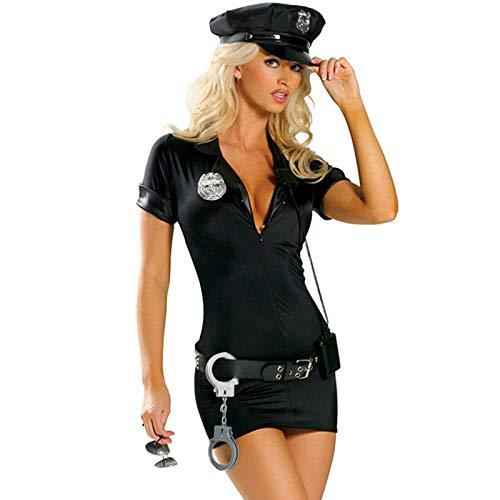KHDFYER Calze Donna Sexy Costume da Donna Sexy Polizia Costume Adulto Poliziotto Uniforme Poliziotta di Halloween Cosplay-Nero_M