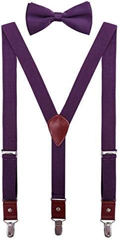 CEAJOO Big Boys Suspenders and Bow Tie Set Adjustable Y Back 40 Eggplant product image