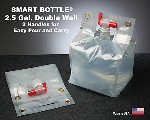 Smart Bottle 2.5 Gallon/10 Liter Collapsible Water Container with a 18 mm Red Fast Pour Spout. The only Double Wall Flexible Container Designed with Handles top and Bottom for Easy Carry. BPA Free.