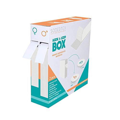 Boîte distributrice de 2 Bandes Scratchs Adhésives - Largeur 2 cm - Longueur 10m - Coloris Blanc - Sodertex - L903001