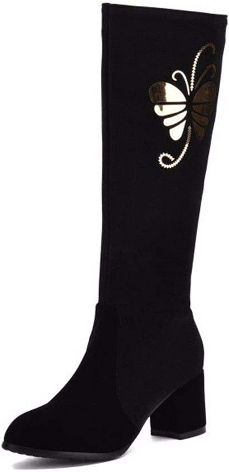 YU&XIN-Women's boots Autumn and Winter and high Heels with Coarse Round Lady Boot Code