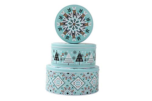 NEIGE Christmas Round Candy Cookie Tins For Gift Giving, Extra Thick Metal - Large, Medium and Small Sizes