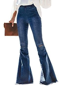 Sidefeel Women Destoryed Flare Jeans Elastic Waist Bell Bottom Tassel Denim Pants XX-Large Sky Blue