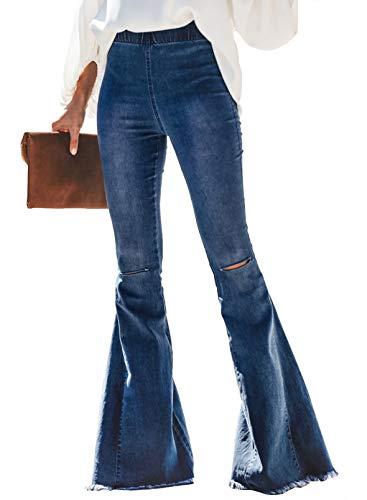 Sidefeel Women Destoryed Flare Jeans Elastic Waist Bell Bottom Tassel Denim Pants Medium Sky Blue