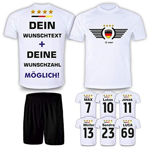 DE FANSHOP Deutschland Trikot mit Hose 2021 & GRATIS Wunschname + Nummer EM WM Weiß #DE2 - Geschenk für Kinder Erw. Jungen Baby Fußball T-Shirt personalisierter Druck