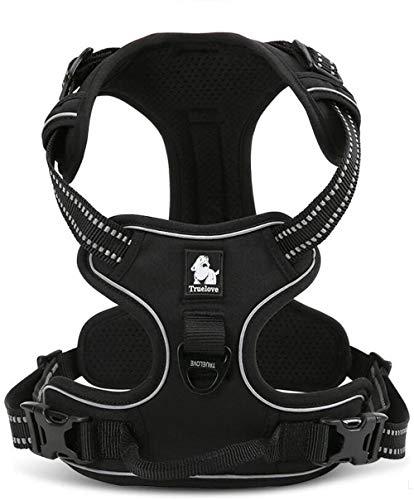 SQHZJ0 Arnés Ajustable para Mascotas 3M Arnés Reflectante sin tirón para Perros Chaleco Exterior Mango Arnés Protector de Nailon para Caminar Negro (XS (33-43cm)