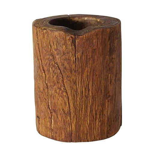 CasaJame Juego de 2 candelabros de madera de teca, 10 x 8 cm