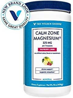 The Vitamin Shoppe Calm Zone Magnesium Mineral Powder, 325mg Raspberry Lemon Relaxation Drink for Muscles, Digestive Bone ...