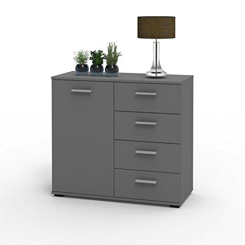 CARO-Möbel Kommode Sideboard Schrank Chicago in grau, mit Tür und 4 Schubladen Highboard