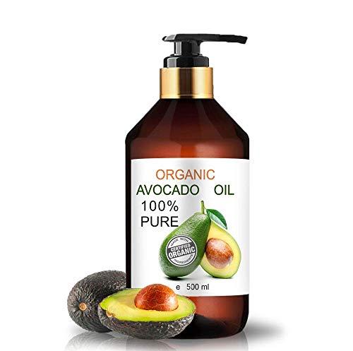 Aceite Ecológico de Aguacate 500 ml Comercio Justo 100% Natural Prensado en Frío Aceite de Masaje Vegetal 100% Natural