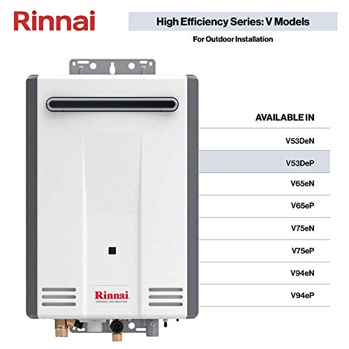 Rinnai V Series HE Tankless Hot Water Heater: Outdoor Installation (Renewed)