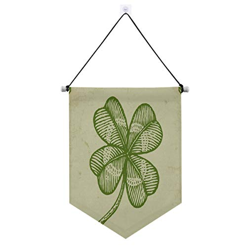 Vintage St Patricks Clover Hanging Banner Porch Sign Decor, Xmas Door Sign for Indoor Outdoor Home Party Decor