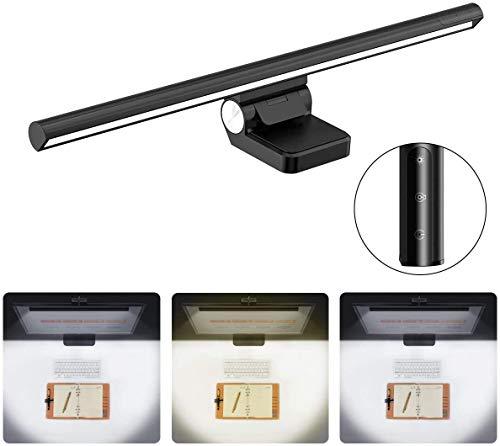 Baseus LED-Monitor-Lampe, E-Reading Schreibtischlampen Clip-Typ Bildschirmlampe Einstellbare Helligkeit und Farbtemperatur, Augenpflege, Kein Bildschirm Blendung oder Flimmern, USB aufladen Büro Lampe