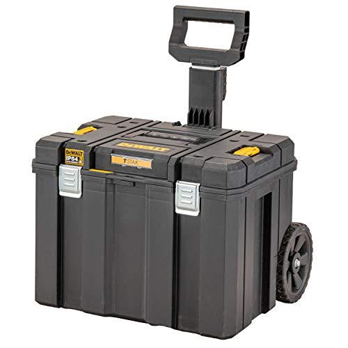 Dewalt DWST83347-1 Mobile Werkzeugbox (36l Volumen, auf Rollen mit Teleskopgriff, kombinierbar mit Anderen TSTAK-Boxen, Sichere Verwahrung von Elektrowerkzeugen und Handwerkzeugen, IP54)