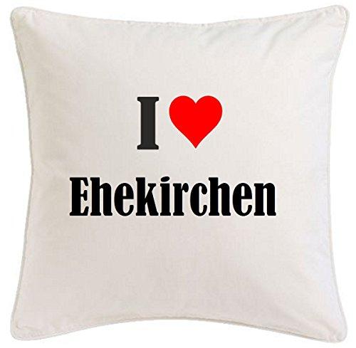 Kissenbezug I Love Ehekirchen 40cmx40cm aus Mikrofaser geschmackvolle Dekoration für jedes Wohnzimmer oder Schlafzimmer in Weiß mit Reißverschluss