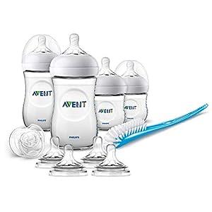 Philips Avent SCD301/02 - Set de recién nacido gama natural, 4 biberones, 4 Tetinas, chupete y escobilla, transparente