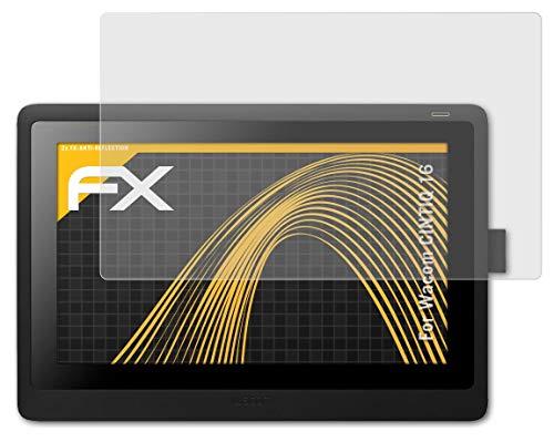 atFolix Panzerfolie kompatibel mit Wacom CINTIQ 16 Schutzfolie, entspiegelnde & stoßdämpfende FX Folie (2X)