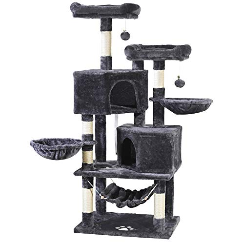 JISSBON Cat Tree Cat Tower Cat Scratching Post with Condos, Basket, Hammock & Plush Perches for Kittens, Large Cats, Grey