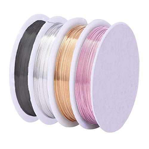Sunbbingsp Filo di Rame per Gioielli 0,5 mm, 4 Rotoli Argento Brillante/Oro KC/Oro Rosa Rosa/Nero Pistola per Gioielli Perline Creazione di Gioielli e Craft
