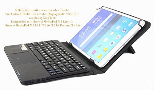 MQ für Huawei MediaPad - Bluetooth Tastatur Tasche mit integriertem Touchpad für Huawei MediaPad M3 lite 10, MediaPad M2 10.1, MediaPad T2 10 Pro, MediaPad T1 9.6 | Tastatur Hülle QWERTZ Deutsch