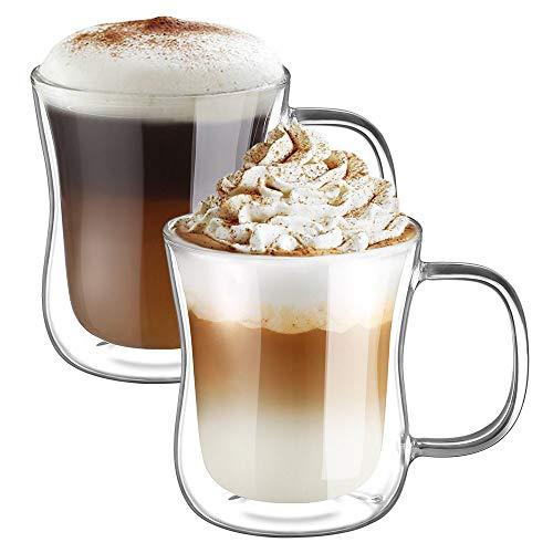 Ecooe Doble Pared de Vidrio de Borosilicato Tazas para el Té Café con Leche Latte Capuchino Jugo 2x350ml