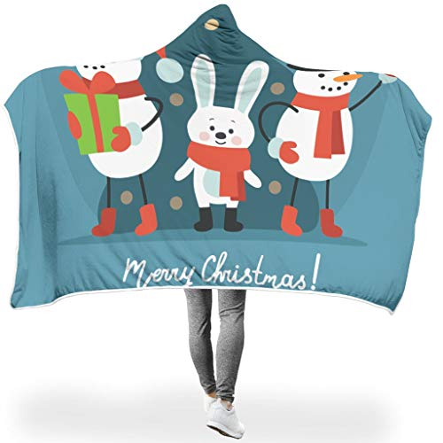 Charzee Sneeuwpop, personaliseerbaar tapijt, hooded Throw Wrap Merry Christmas soft-mantel plafond winter TV computer werpen deken voor kinderen