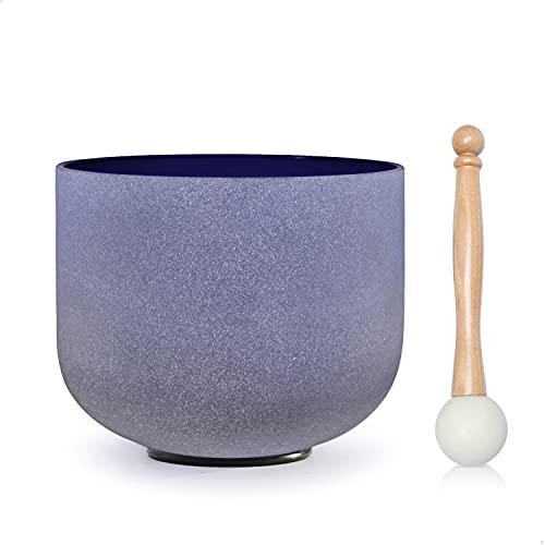 CVNC 10 Inch Indigo Color A Note Third-Eye Chakra Frosted Quartz Crystal Singing Bowl + Free mallet & O-ring Sound Healing Instrument