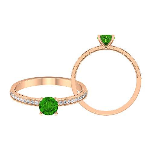Rosec Jewels - Anillo solitario de Tsavorita creado en laboratorio de 1/2 CT con moissanita, anillo de compromiso de oro (calidad AAAA), oro de 10 quilates verde