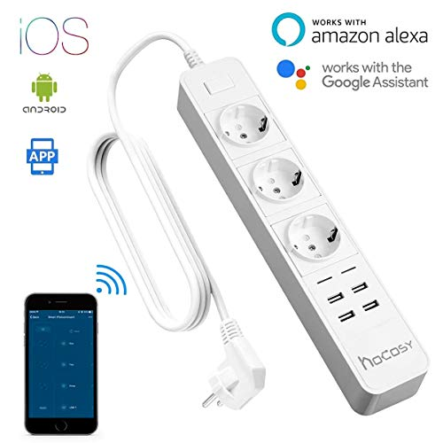 Wi-Fi Multipresa Ciabatta, HOCOSY Multipresa Intelligente con Elettrica a 3 Presa +4 Porte Usb, Spina 10A, Controllo Remoto per Ciascuna Presa tramite App, Supporta Amazon Alexa &Google Assistant